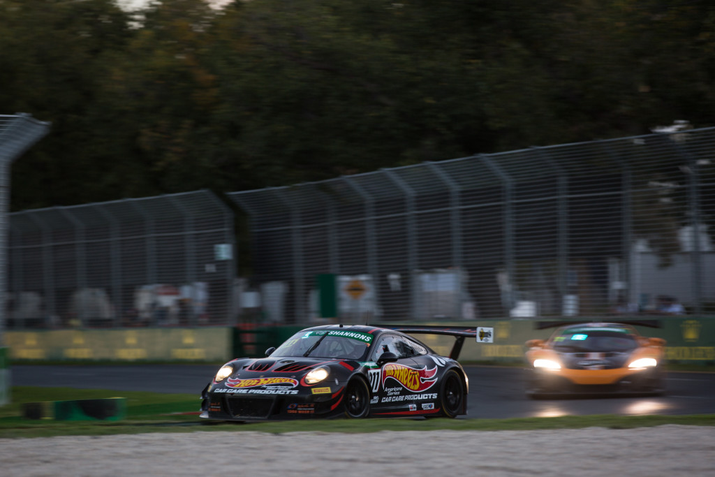 Liam Talbot charging forward in the second Aus GT race in Melbourne
